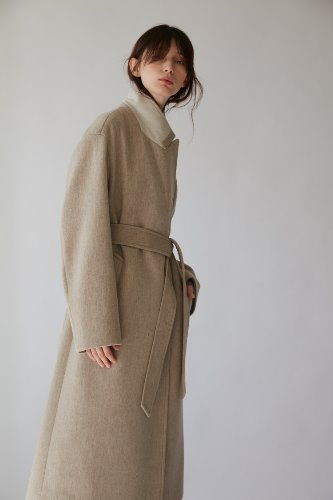 Coat Double Belted Wool Oat Meal