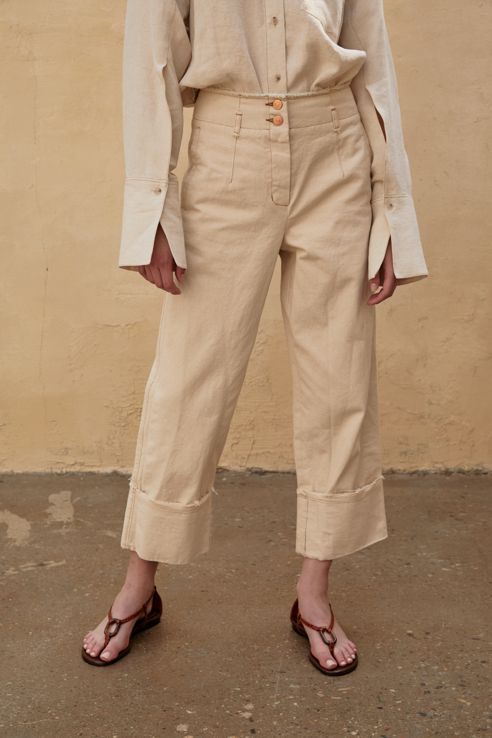 SOLD OUT *** Pants Denim Turn Up Beige