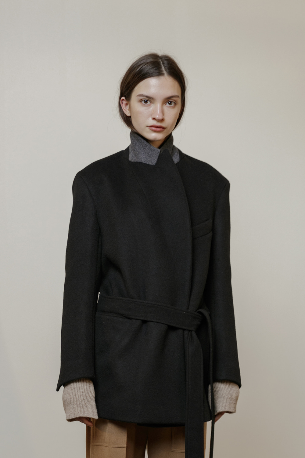 [ ICONIC ] Jacket Loose Belted Pure Black