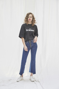 SOLD OUT *** Boots Cut Front Zip Denim Deep Blue / Singer Actress EomJungHwa