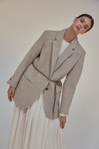 unit Jacket Harringbone Wool Oat Meal