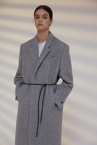 Coat Harringbone Wool Melange Light Gray