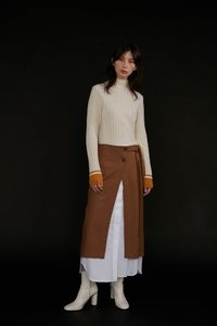 Skirt Inner Layered Slit Camel