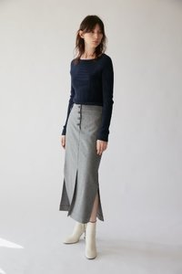 Skirt H Line Banding Melange Light Gray