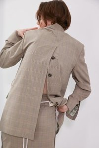 Jacket Double Back Open Check Beige [ICONIC]