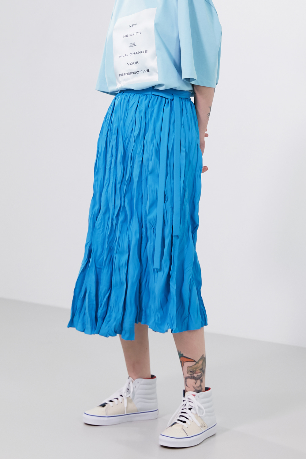 Skirt Pleats Crinkled Splash Blue & Ivory