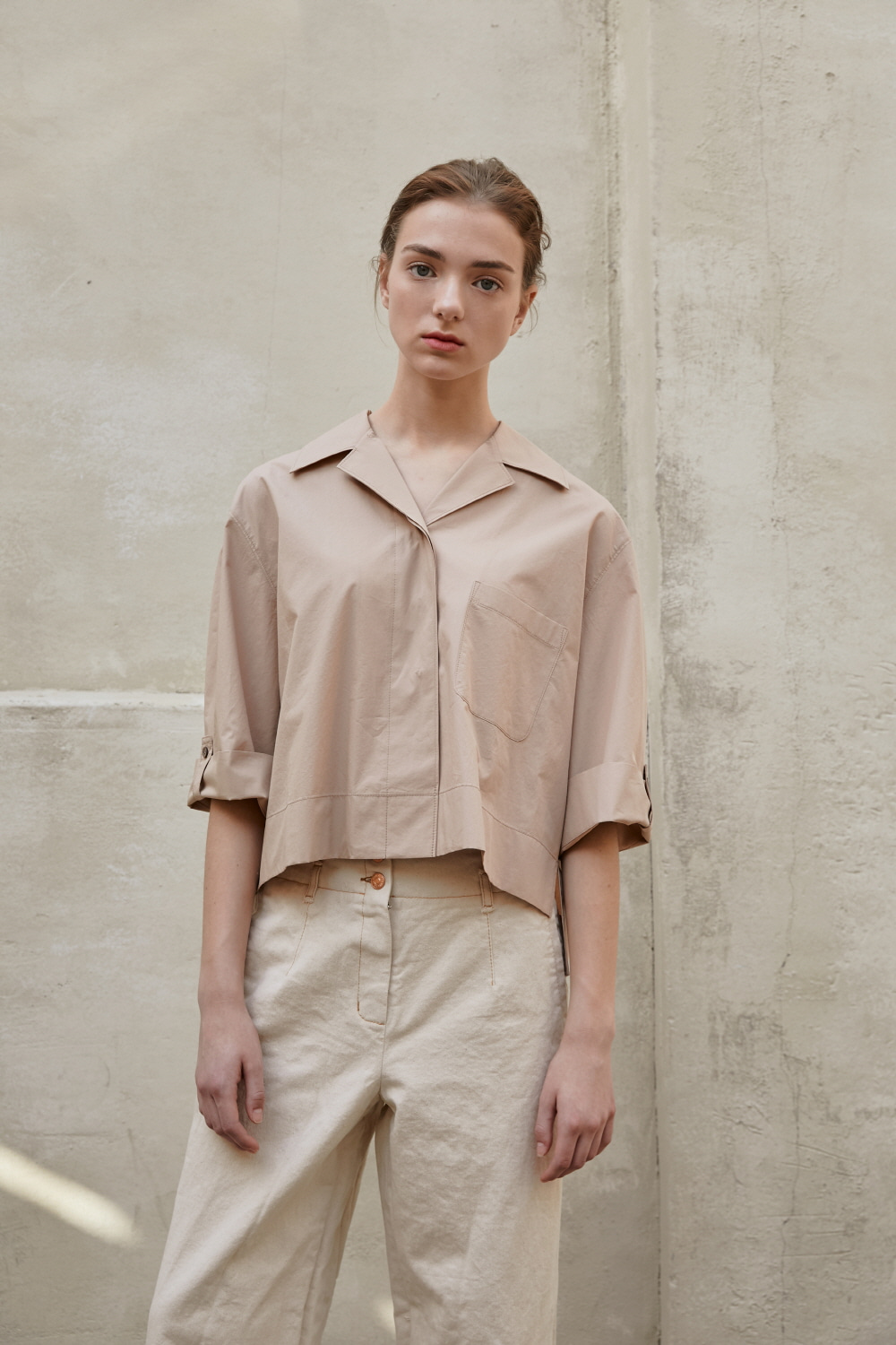 Shirt Crop Unbalanced D Beige