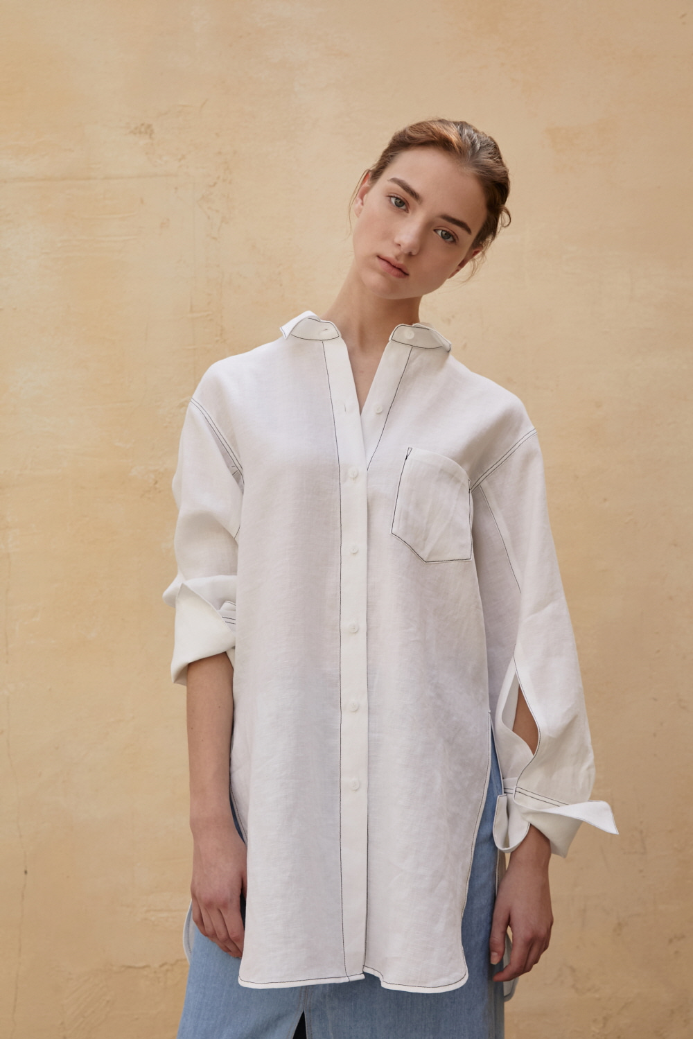 Shirt Classic Long Linen White [ICONIC]
