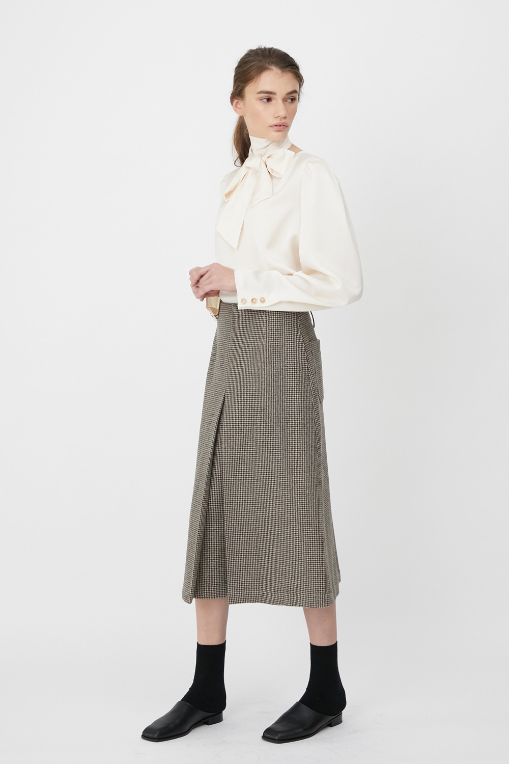 Skirt Check A Line Beige
