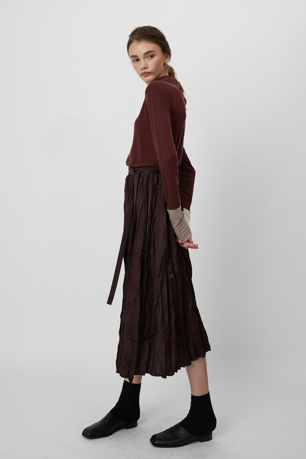 Skirt L Pleats Burgundy