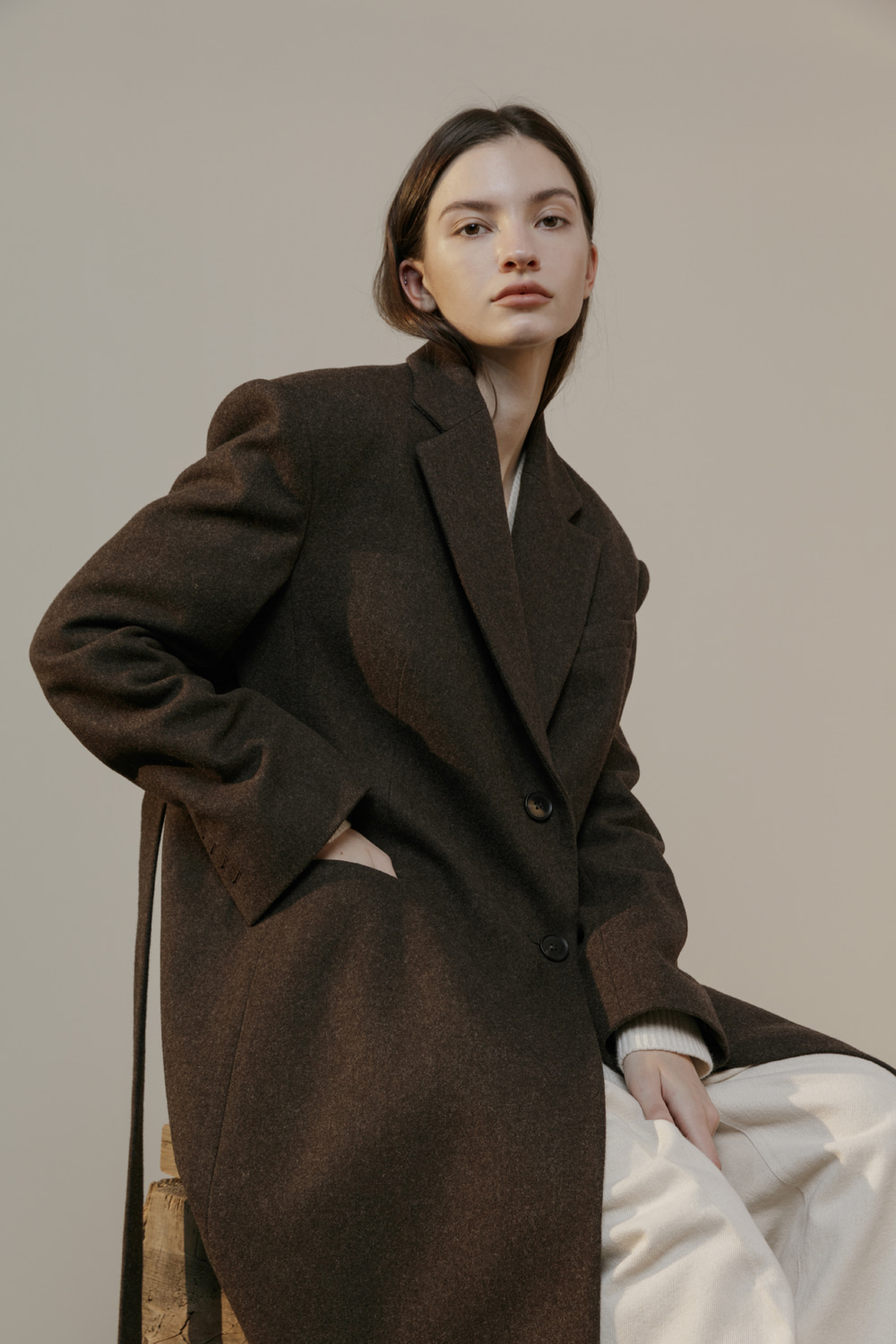 unit | Coat A Belted Wine Brown