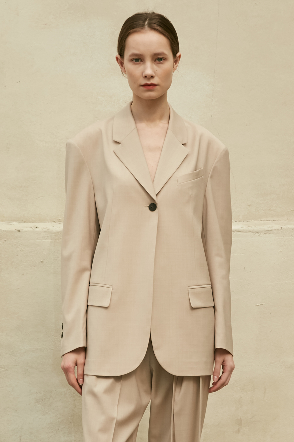 Jacket Single Button Beige