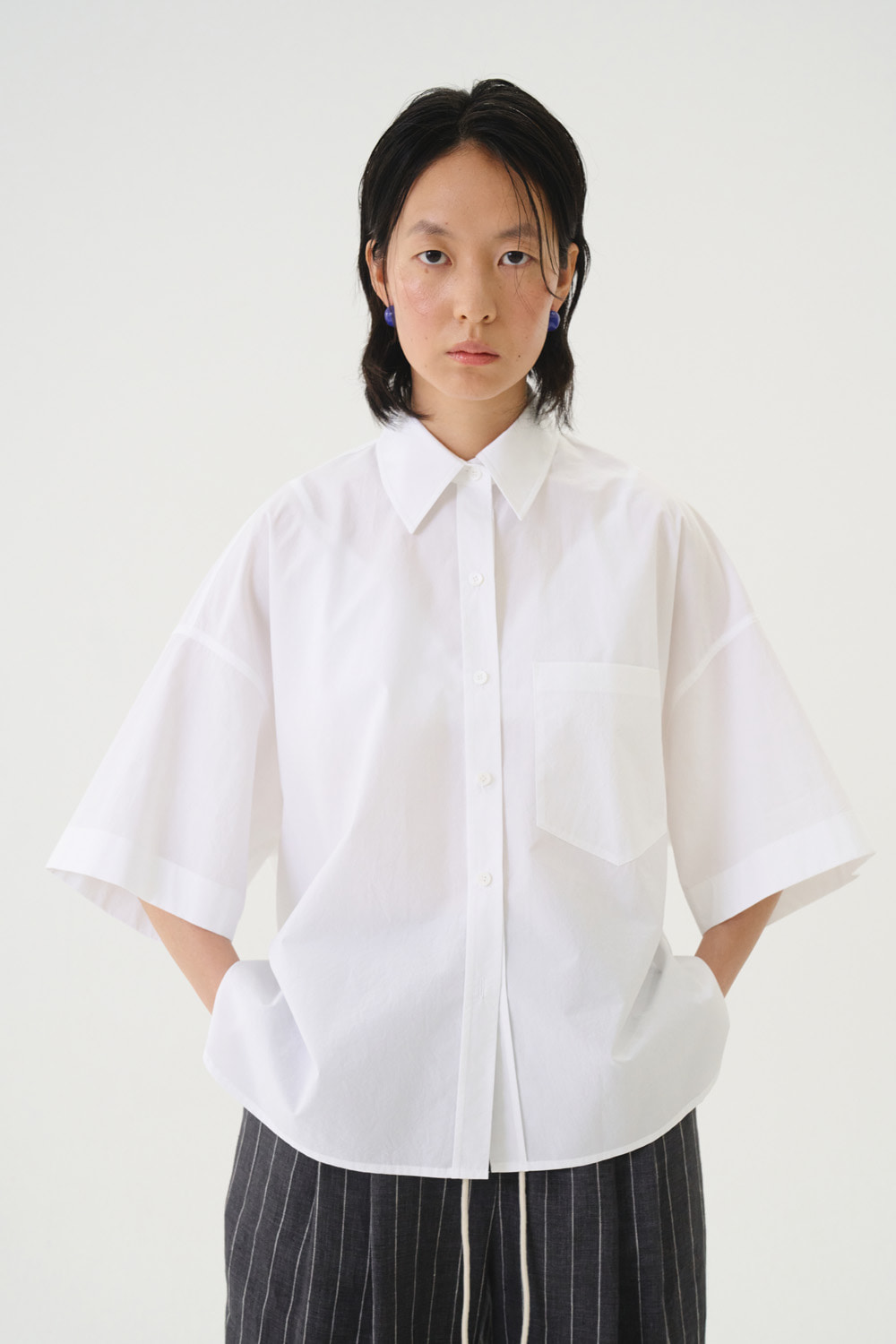 Shrits Collar Button White