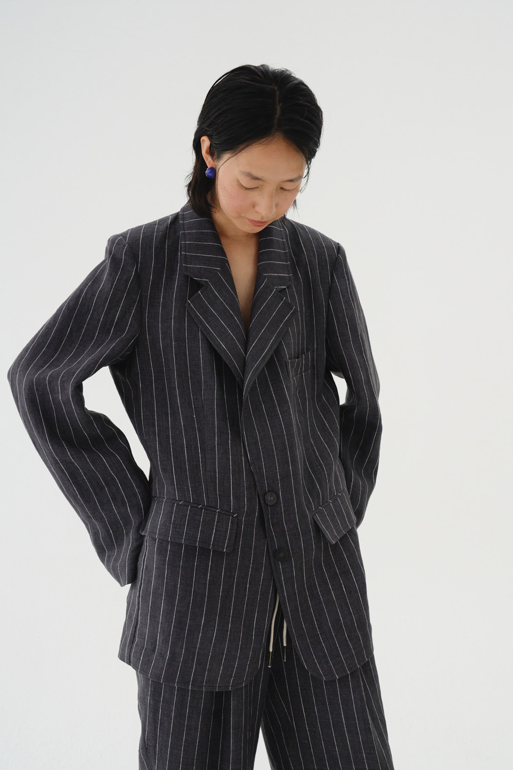 Jacket Stripe Linen Charcoal Gray