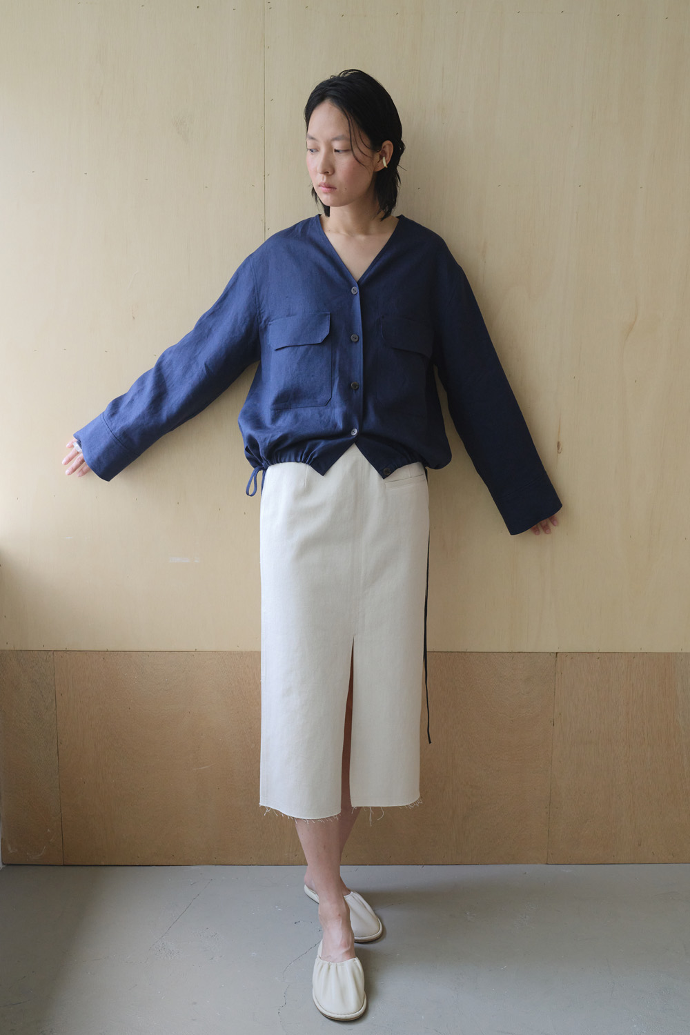 Skirt Denim Slit Ecru