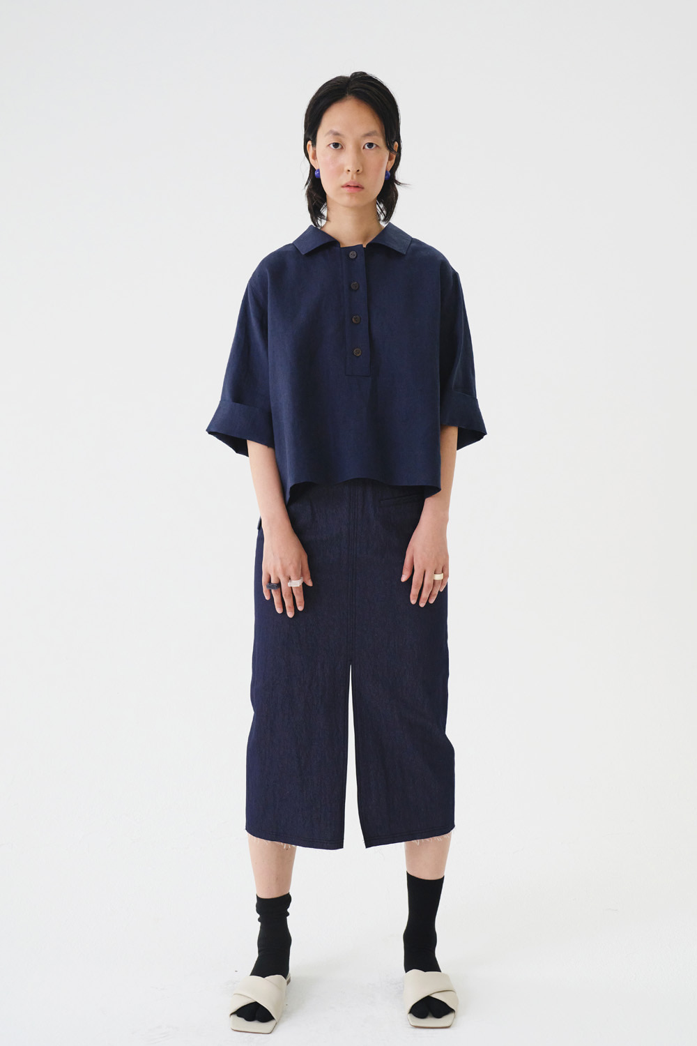 Skirt Denim Slit Indigo Navy