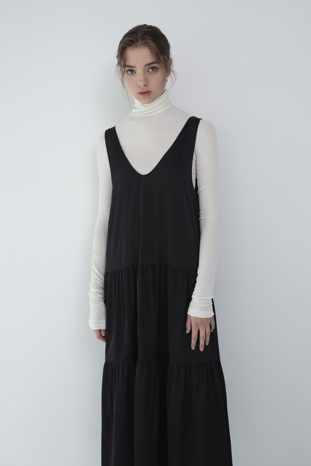 Dress Sleeveless Shirring Nocturnal Black