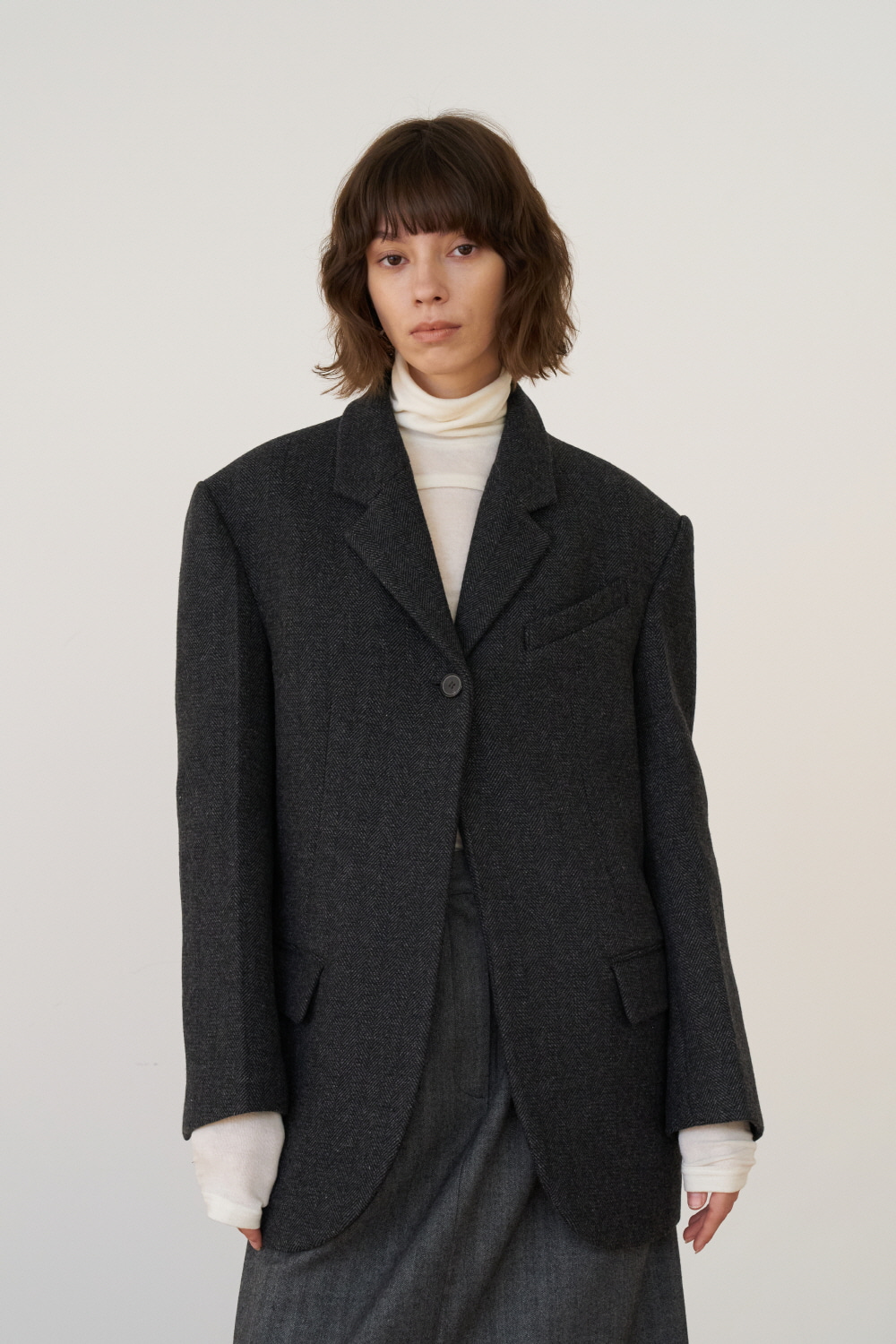 unit | Jacket Harringbone Boy Fit Charcoal Gray